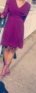 DKNY sheer plum dress